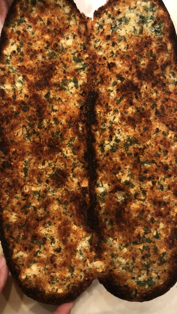 Garlic Bread just out of the oven before slicing.