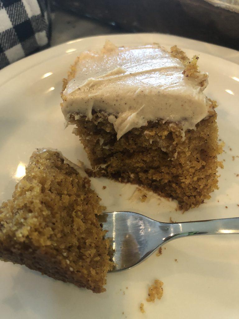 Piece of Pumpkin Bar Cake with Maple Cinnamon Cream Cheese Icing