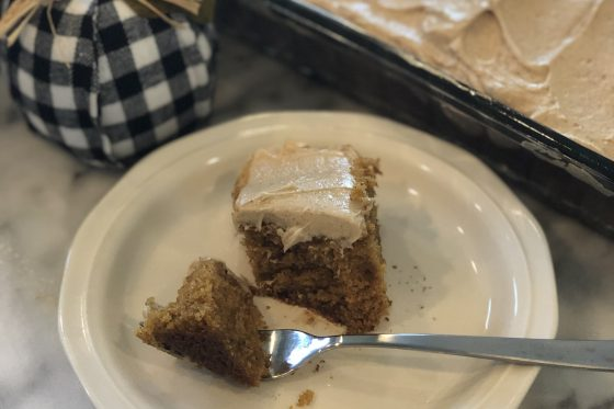 Slice of Pumpkin Bar Cake with Maple Cream Cheese Frosting